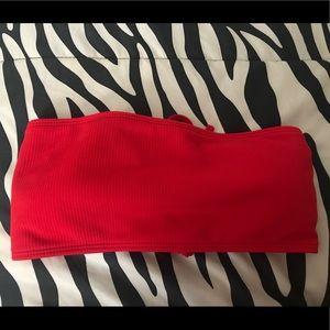 ZAFUL Red Bandeau Bikini Top
